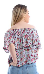 54036 Blue Floral Off-the-shoulder Crop Top