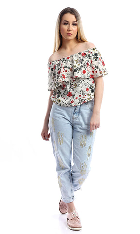 54037 White Floral Printed Shirred Off Shoulder Crop Top