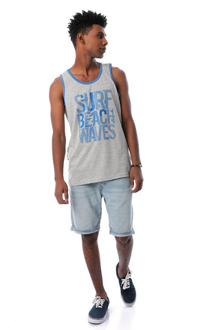 "54056 ""Surf Beach Waves"" Heather Grey Tank Top"