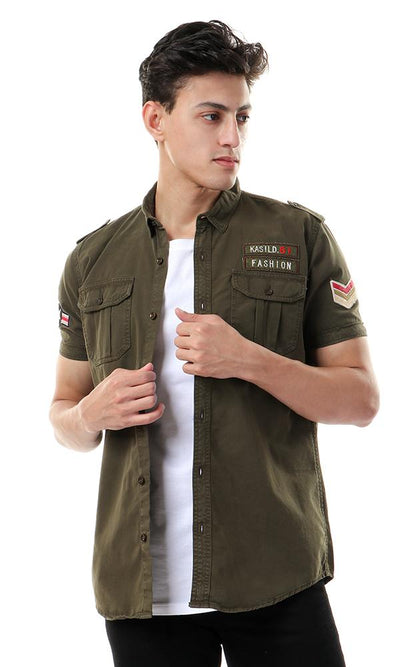 54066 Buttoned Short Sleeve Shirt With Patches - Olive