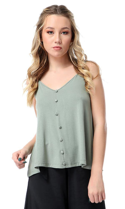 54067 Decorative Buttons Fluffy Sage Green Top