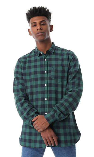 Dark Green Buttoned Casual Check Shirt