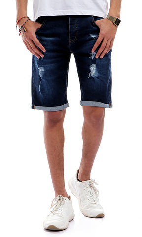 Scratched Casual Buttoned Jeans Short - Dark Blue Jeans