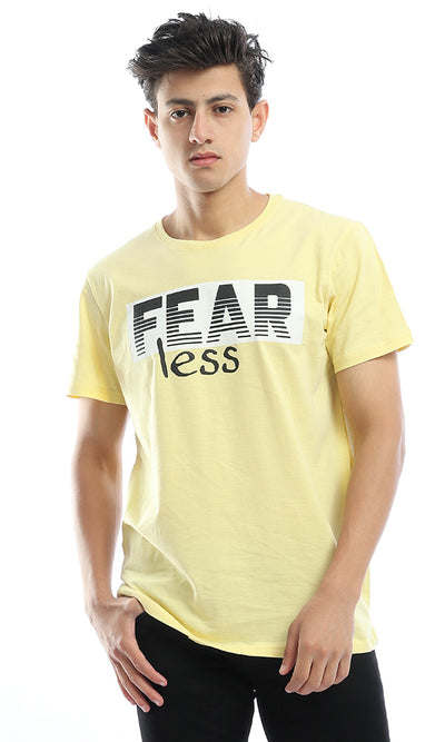 54089 Fearless Printed Chiffon Yellow T-Shirt