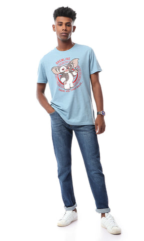 54095 Printed Cartoon Character Casual T-shirt - Heather Dusty Blue