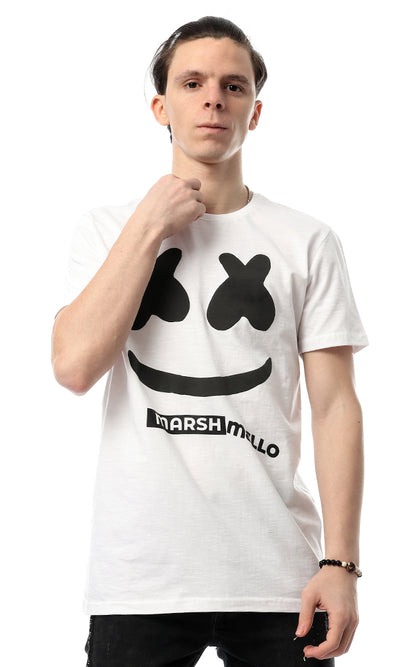 54096 Marshmello Printed Trendy White Tee