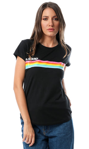 54105 Colorful Rays Printed Black T-shirt