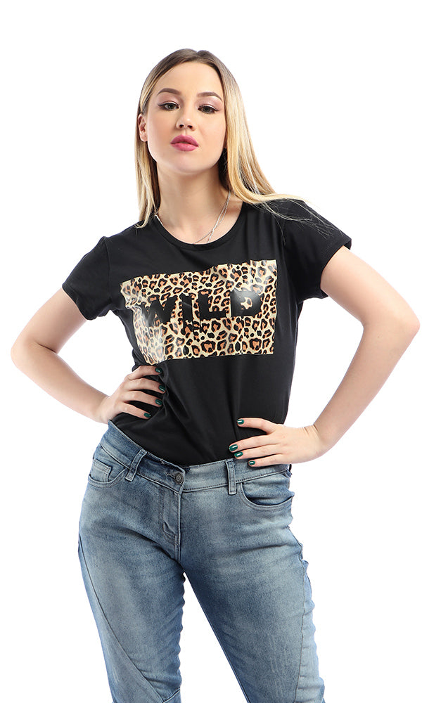 "Short Sleeves Leopard Printed "" Wild "" Black T-shirt"