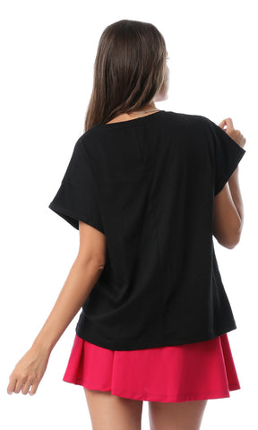 54117 Glittery Print Short Sleeves Black T-shirt