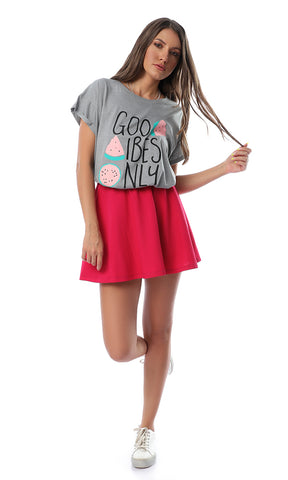 54118 Good Vibes Only Melon Grey Tee