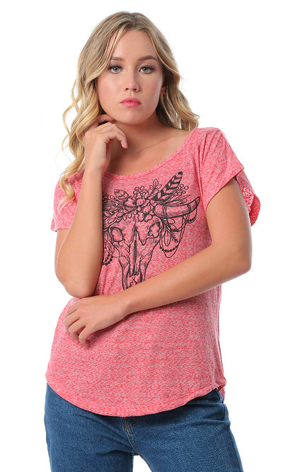 Front Print Heather Red Short Sleeves T-shirt