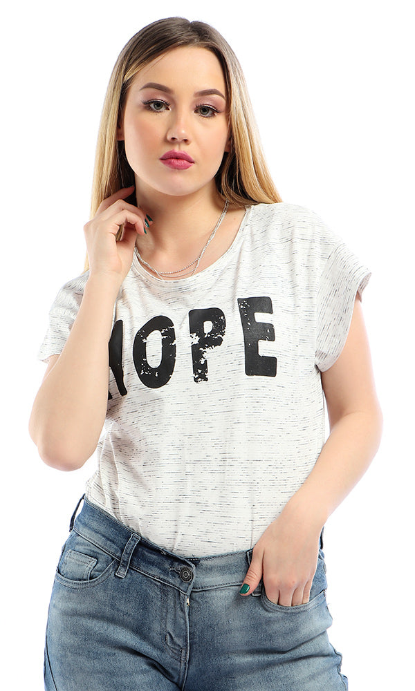"Printed "" Hope "" Short Sleeves Casual Heather White T-shirt"