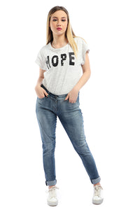 54138 Printed  Hope  Short Sleeves Casual Heather White T-shirt