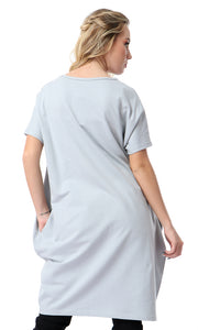 54139 Front Print Grey Loose Fit Long T-shirt