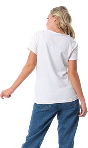 54152 Colorful Heathered Off-White Printed T-shirt
