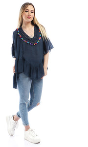 Colorful Pom Pom Knitted V-Neck Navy Blue Loose Top