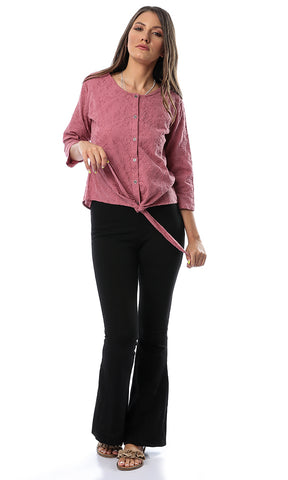 54174 Embroidered Buttoned Front Tie Dark Cashmere Top