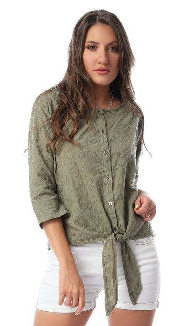 54175 Embroidered Front Tie Olive Shirt