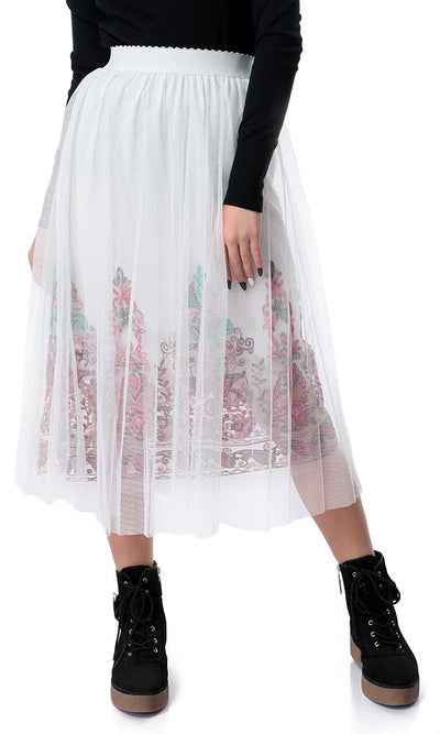54188 Colorful Elastic Waist White Sheer Skirt - Ravin