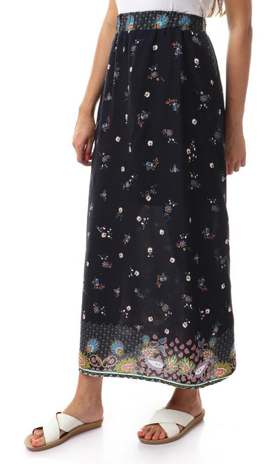 54190 Flowers With Two Pockets Printed Navy Blue Skirt - Ravin