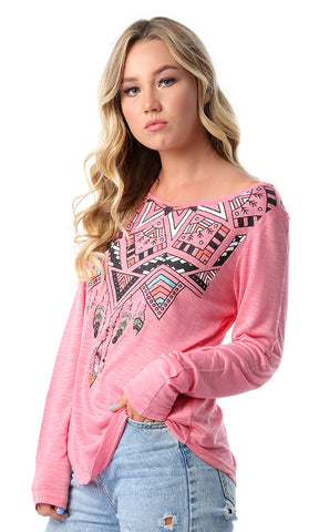 54198 New Print Crew Neck Long Sleeves Coral Top