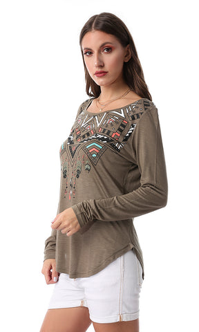 54199 Bohoo Printed Long Sleeved Tee Olive