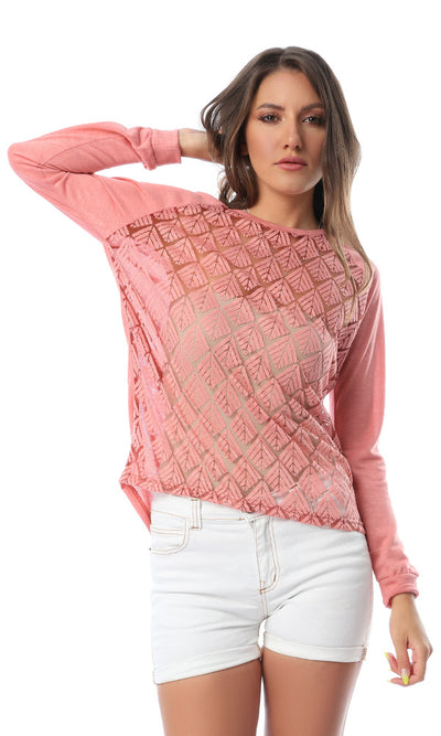 54200 Cheer Self Pattern Peach Top