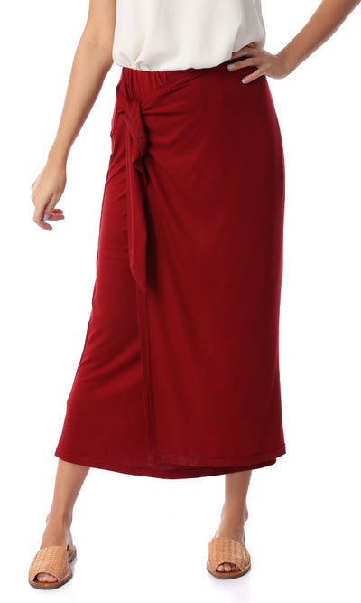 Front Wrap Solid Burgundy Skirt