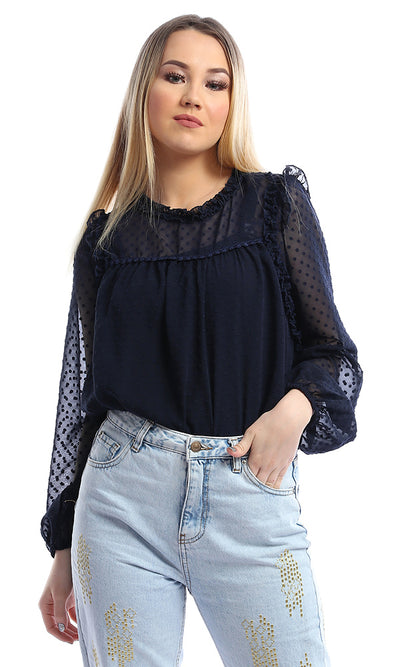 54220 Navy Blue Sheer Round Neck Long Sleeve Top