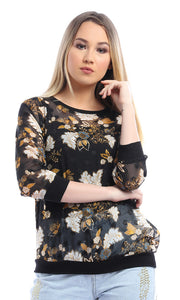 Black Slinky Floral Print Long Sleeve Top