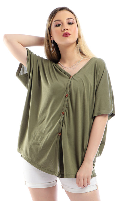 54231 Solid Short Sleeves Loose Olive Cardigan