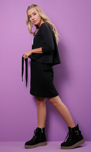 54233 Simple Plain Short Black Cardigan