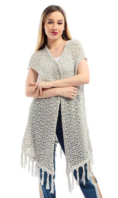 54237 Knitted Open Neckline Perforated Off-White Cardigan