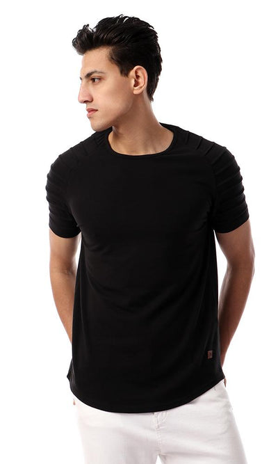 54242 Basic Round Neck Black Solid T-shirt - Ravin