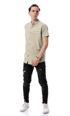 54247 Simple Casual Short Sleevess Light Olive Shirt