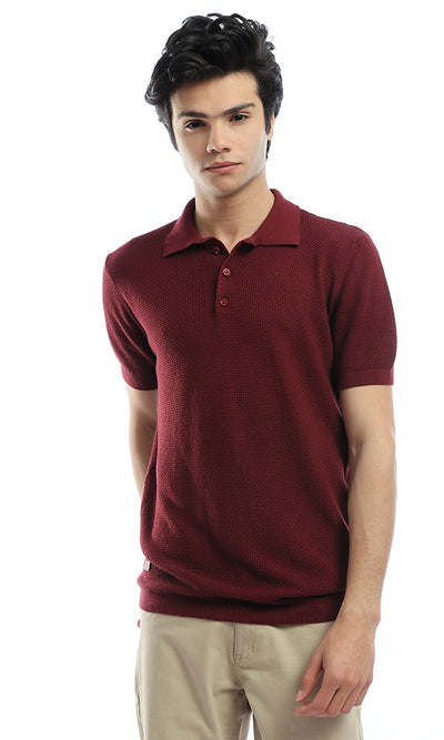 54249 Maroon Buttoned Neck Polo Shirt