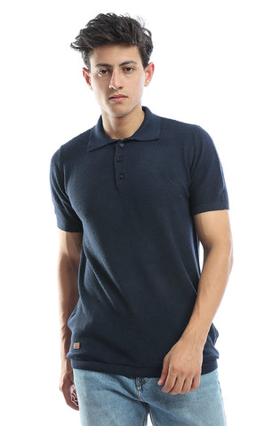 54250 Knitted Short Sleeves Navy Blue Polo Shirt