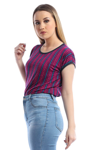 54262 Anything Is Cute Magenta Striped Tee