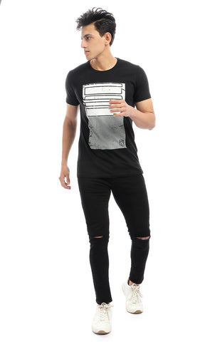 54270 CairoKee Collection Bi-Tone Print Round Neck Slip On T-shirt - Black