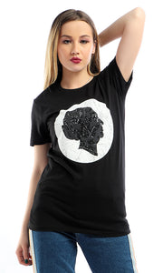 54272 CairoKee Collection Printed Om Kalthoum Face Short Sleeves Black T-shirt