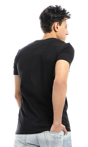 54274 CairoKee Collection Printed Short Sleeves Casual Black T-shirt