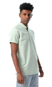 Mandarin Short Sleeves Sharkskin Light Green Shirt