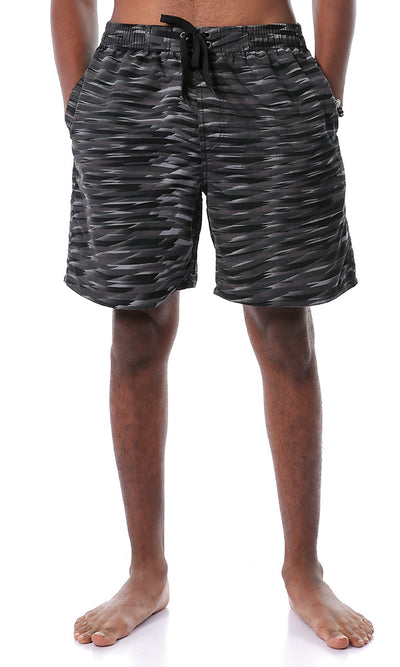 Stylish Random Pattern Black Swim Short