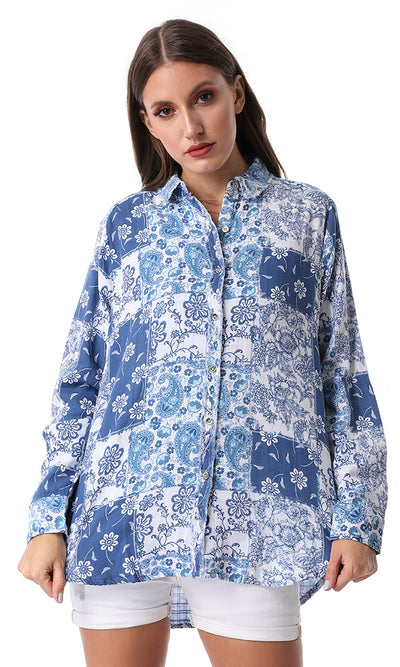 Fashionable Floral Long Shirt Blue