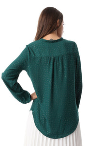 54318 Dark Green Cool Buttoned Blouse