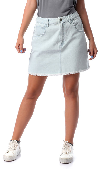 54324 Back Smiley Face Ice Blue Short Skirt