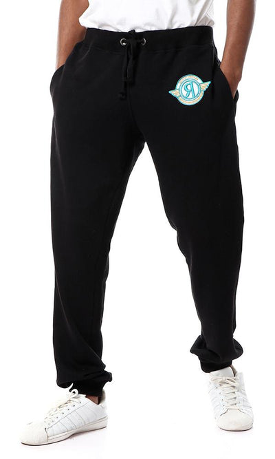 54336 Solid Slip On Cotton Black Sweatpants With Pockets - Ravin