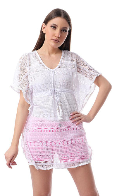 54341 White Slip On Perforated Top With Waist Drawstring - Ravin