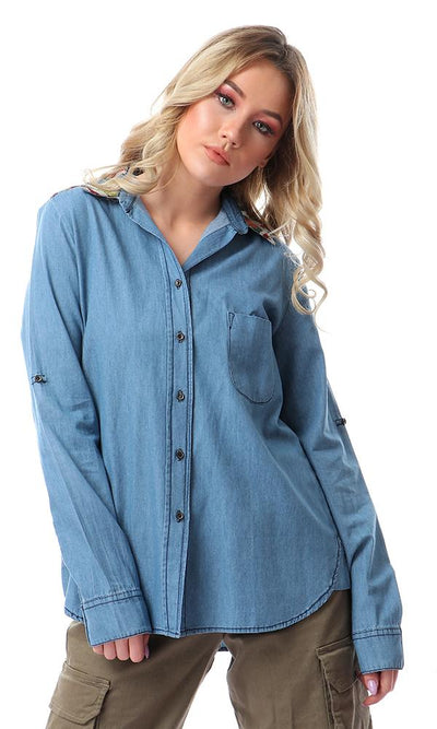 54352 Casual Buttons Down Shirt With Stitched Neck - Meduim Blue
