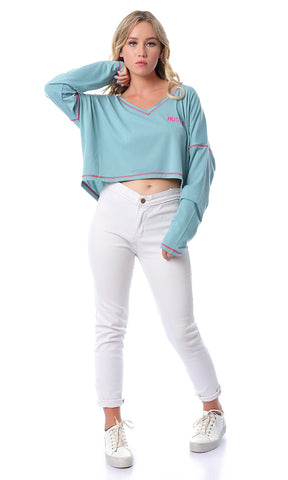 Loose V-Neck Dusty Blue Crop Top